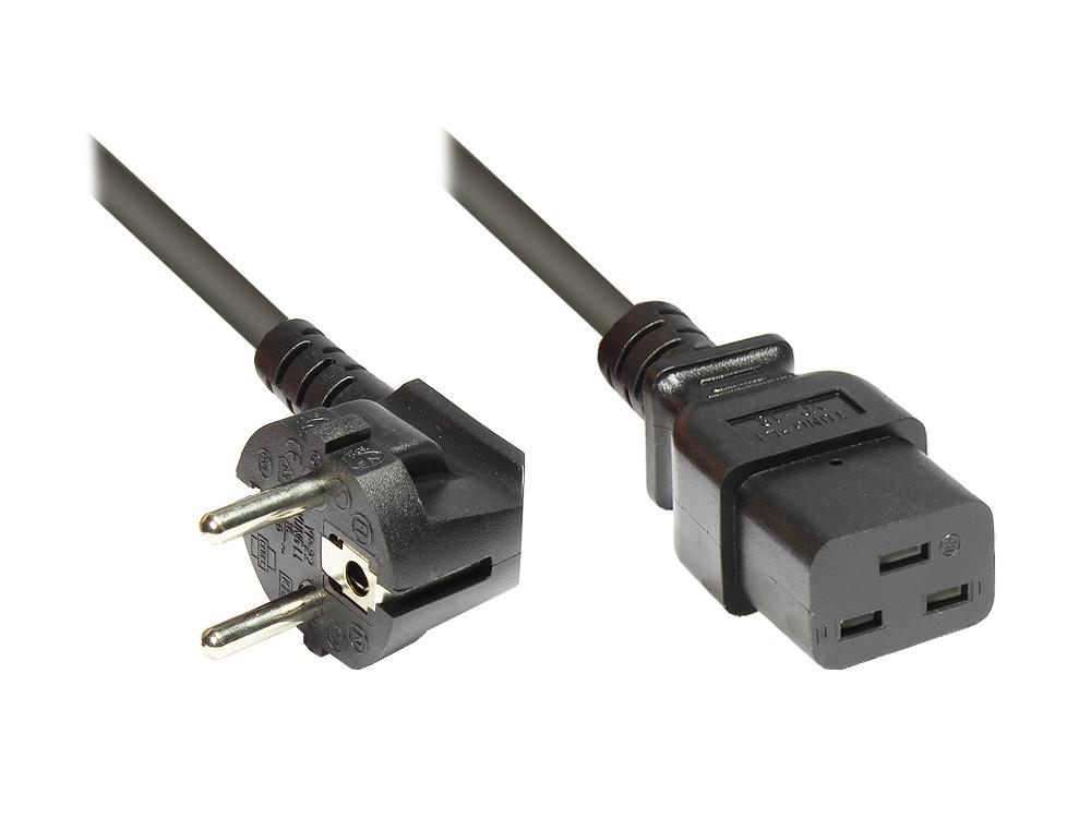 Netzkabel Schutzkontakt-Stecker an Kaltgeräte-Buchse C19, schwarz, 1,8m