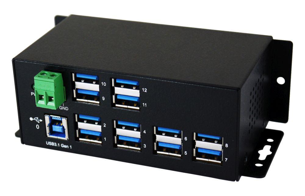 Exsys 12 Port USB 3.0/ 3.1 (Gen.1) Metall HUB, 12x Buchse A, Upstream Buchse B, 15KV ESD Überspannungsschutz, schwarz [EX-1112HMS]