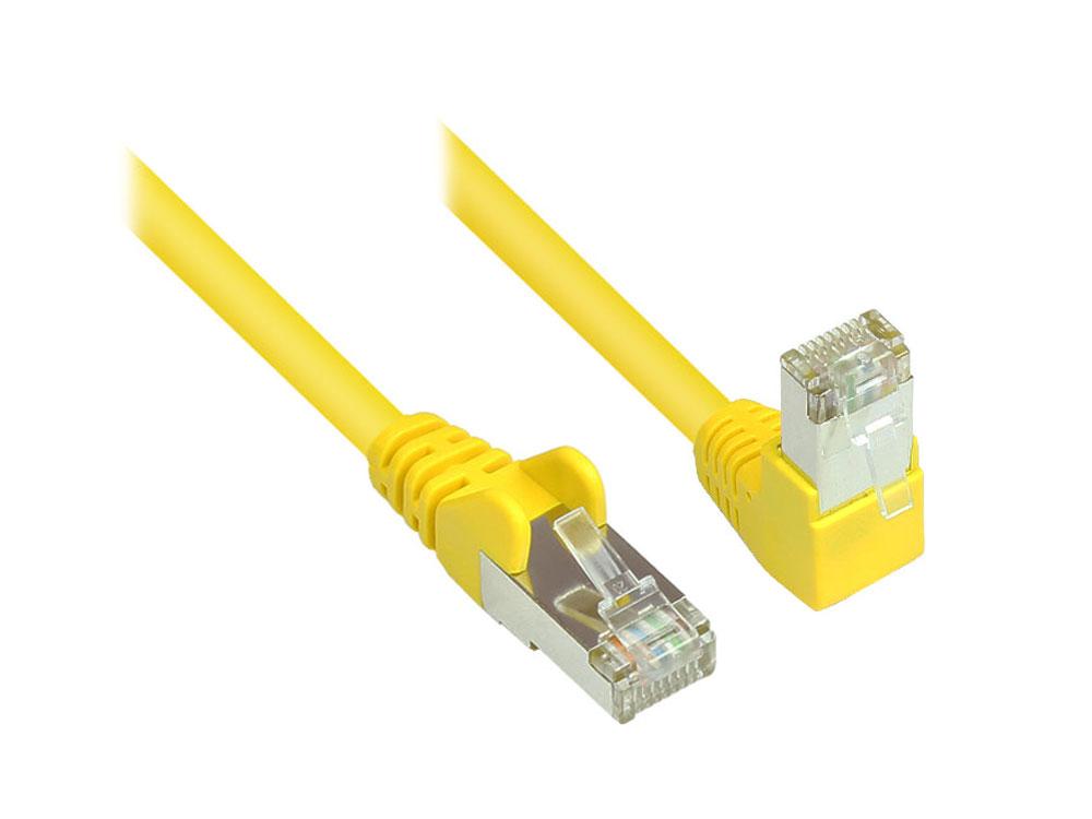 Patchkabel, Cat. 6, S/FTP, PiMF, 250MHz, einseitig 90° nach unten gewinkelt, gelb, 1m