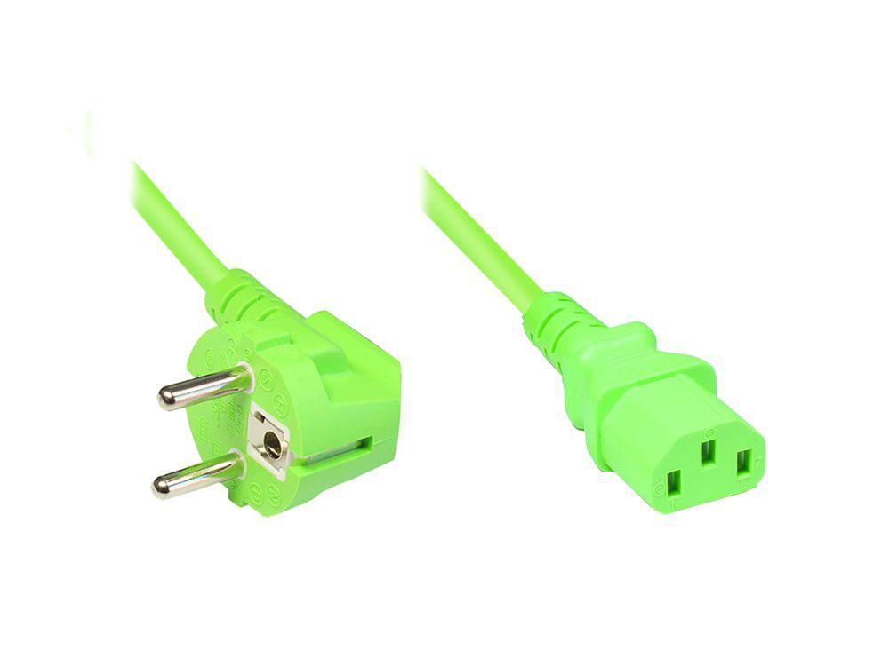 Netzkabel Schutzkontakt-Stecker an Kaltgeräte-Buchse, Typ F an C13, grün, 3m