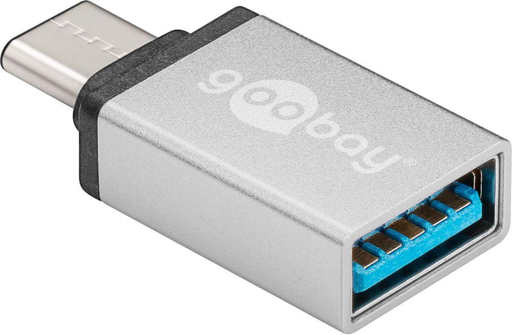 Adapter USB 3.0, USB C Stecker an USB 3.0 Buchse A, Farbe: silber