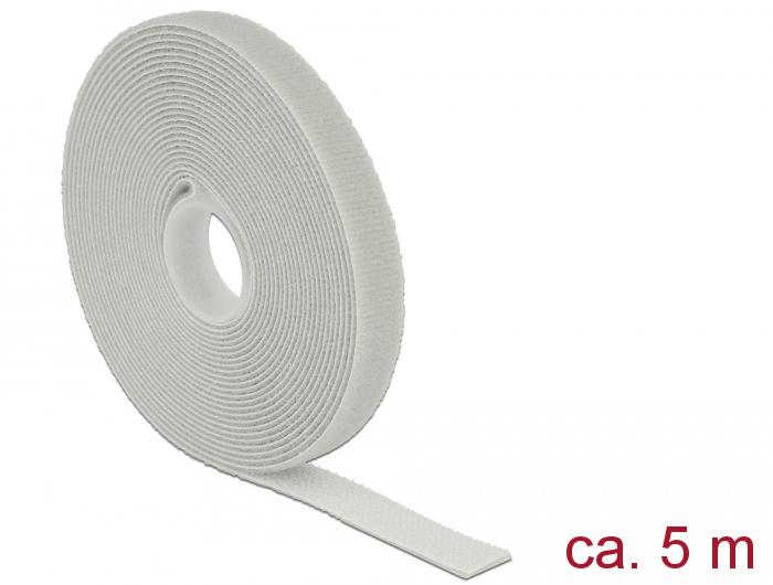 Delock® Klett-Kabelbinder L 5m x B 13mm, Rolle, grau [18276]