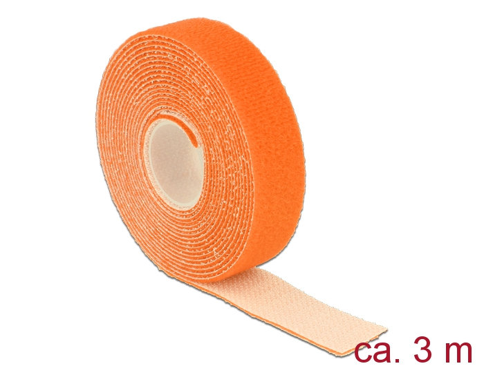 Delock® Klett-Kabelbinder L 3m x B 20mm, Rolle, orange [18746]