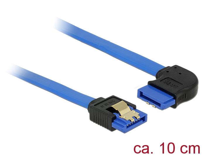 Delock® Kabel SATA 6 Gb/s Buchse gerade an SATA Buchse rechts gewinkelt, mit Goldclips, blau, 1m [84993]