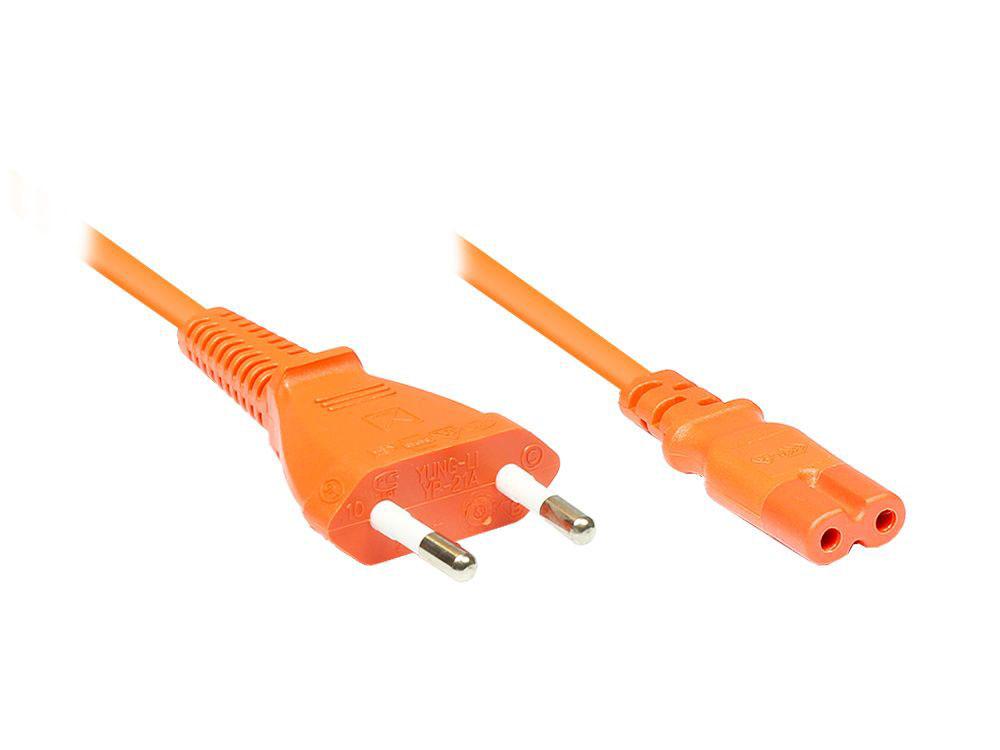 Euro-Netzkabel, Netzstecker an Euro 8 Buchse, orange, 1,8m