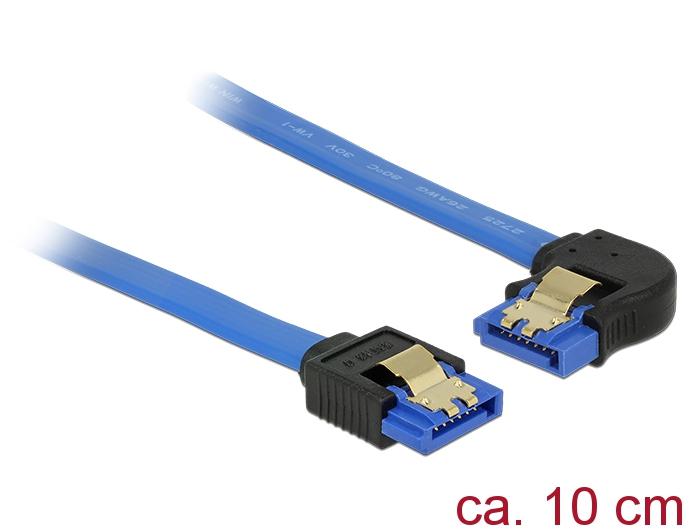 Delock® Kabel SATA 6 Gb/s Buchse gerade an SATA Buchse links gewinkelt, mit Goldclips, blau, 0,1m [84982]