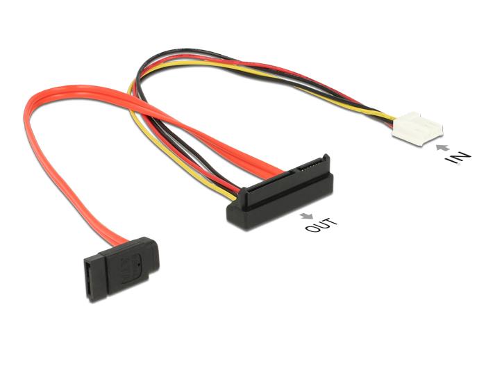 Delock® Kabel SATA 6 Gb/s 7 Pin Buchse + Floppy 4 Pin Strom Buchse (5V + 12V) > SATA 22 Pin Buchse unten gewinkelt, 0,3m [84854]