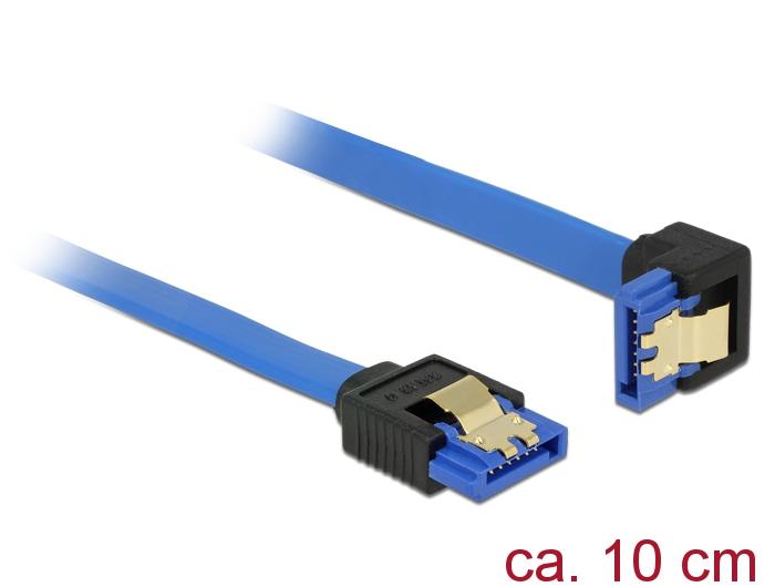 Delock® Kabel SATA 6 Gb/s Buchse gerade an SATA Buchse unten gewinkelt, mit Goldclips, blau, 1m [85093]